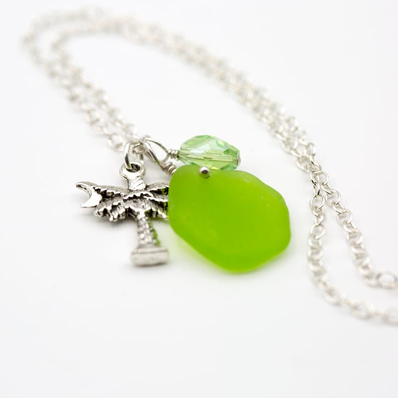 Upcycled Summertime Green Crystal Charm Rare Lime Green Seaglass Pendant Necklace with Palm Tree Charm Eco Friendly Beachy