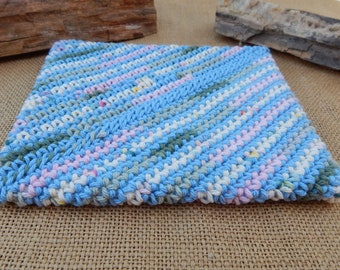Double Thick Crocheted Potholder  ~  Pastel Rainbow Thick Crocheted Potholder  ~  Crocheted Potholder  ~  Large Double Thick Potholder