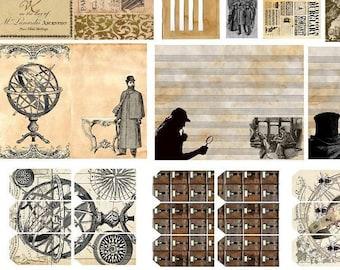 Sherlock Holmes Junk Journal Pages  Twenty  Digital Printable Sheets 8 1/2 x 11 Sketch Book PDF