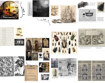Edgar Allan Poe Junk Journal Pages  Thirteen  Digital Printable Sheets 8 1/2 x 11 Sketch Book PDF