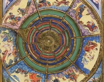 Instant Download Geomantic Compass Almanac Medieval Illuminated  You Print Digital Image