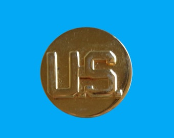 """Vtg Enlisted US Army Military WWII Gold Tone Collar Pin G-23 Round 1"""" *Missing Back Closures*"""