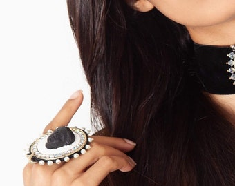 Bead Embroidered bold large Aphrodite Ring adjustable
