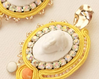 elegant yellow statement soutache earrings  with Aphrodite Cameo & crystal rhinestones
