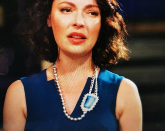 Blue Agate & Swarovski pearls embroidered statement necklace ,  As Seen on Firefly Lane, Unique jewelry as seen on Tv