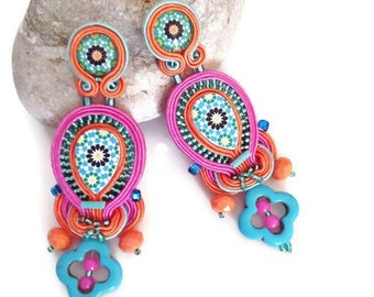 Bohemian colorful long earrings soutache , Portuguese Arab tile statement handmade earrings , boho wedding earrings , multicolored earrings