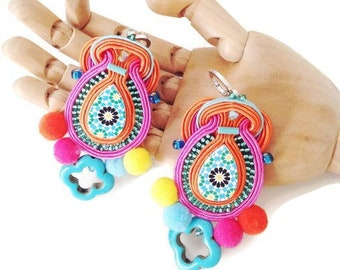 colorful Spanish azulejos with pompom chandelier earrings , boho ethnic long soutache earrings - GALA