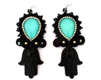 long black Hamsa statement lightweight turquoise glass earrings,  CASABLANCA