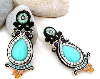Arabic style oriental long studs colorful earrings, statement soutache ethnic style earrings, black turquoise drop earrings, gift for mom