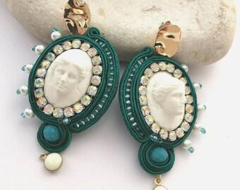 Aphrodite cameo leaf earrings, haute couture statement earrings, french handmade earrings