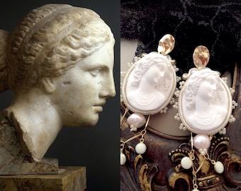 statement chandelier earrings , vintage inspired cameo earrings , bridal dangle pearls earrings , long white wedding earrings , wedding gift