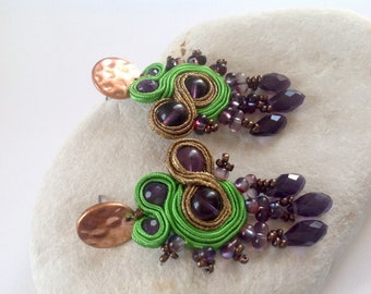 Amethyst long studs chandelier statement  earrings with green and bronze, Gemini Gift for her , gift for best friend