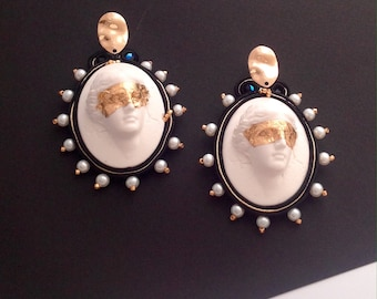 bold cameo Aphrodite dangle haute couture earrings , elegant lightweight statement handmade earrings jewelry gifts for her  -  NO VIDI VINCI