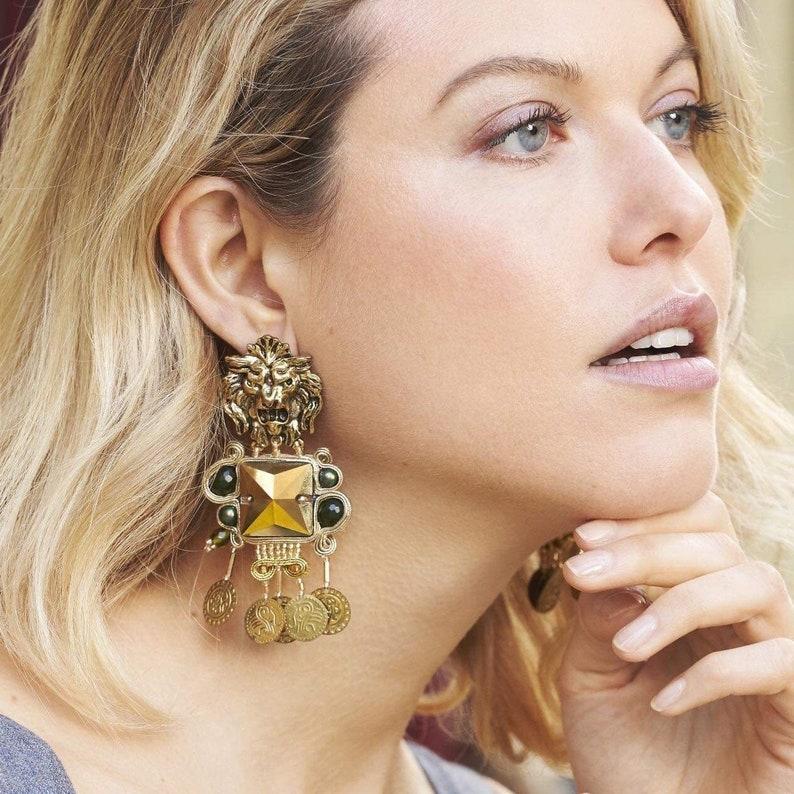 Haute Couture lion head drop long earrings  jade and soutache image 0