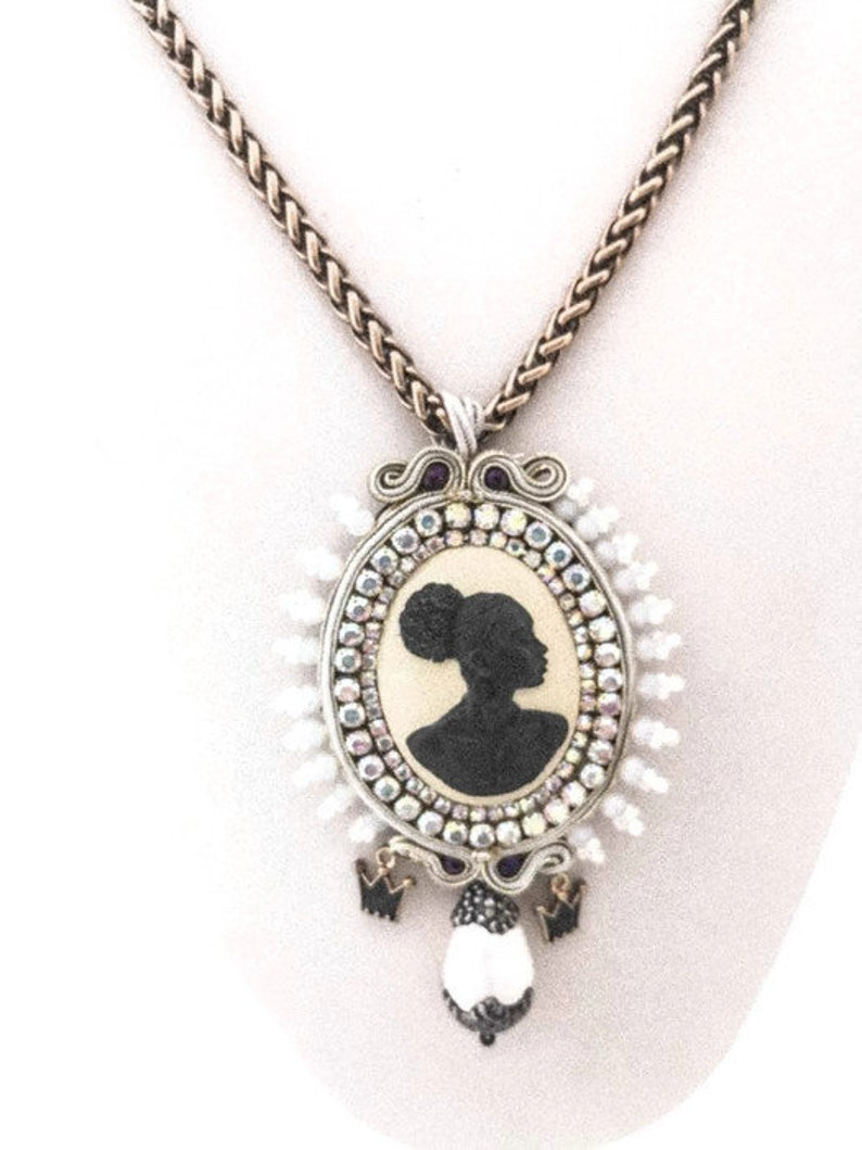 GOREE sparkling African lady cameo bib long necklace black Queen cameo necklace opal and pearls ethnic soutache statement necklace