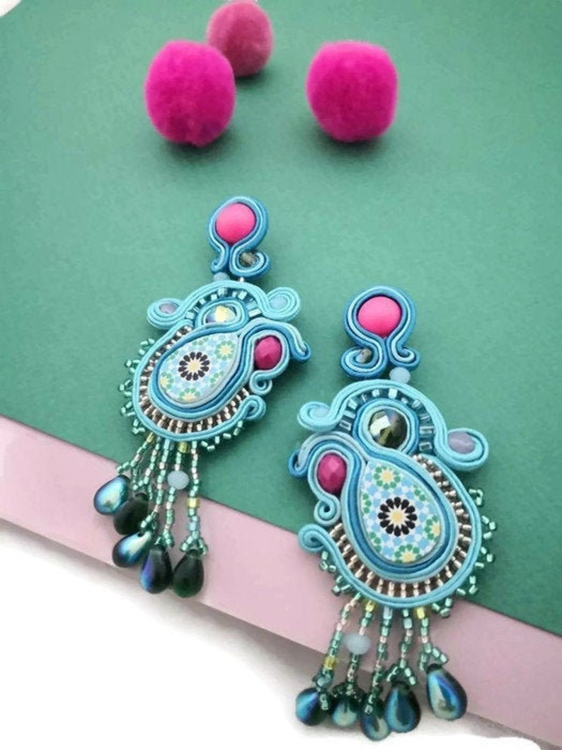 Hot pink and blue statement beaded tassels earrings  clip on image 0