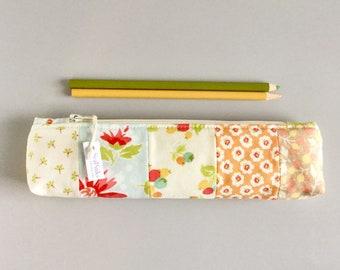 Skinny Pencil Case Pastel Floral Prints Pencil Pouch Cute Pencil Case Floral Purse Organizer