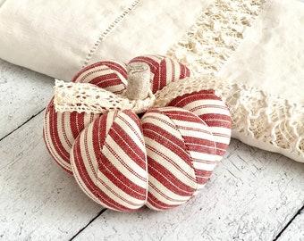 Pumpkin Pincushion Rustic Red and White Striped Pumpkin
