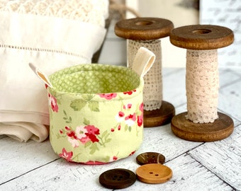 Small Fabric Cup Cute Pink and Green Floral Little Fabric Basket Bucket