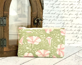 Coin Purse Cute Pink and Green Floral Change Purse Small Card Holder Zipper Pouch