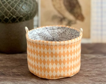 Small Fabric Cup Orange and Gray Halloween Little Fabric Basket Bucket