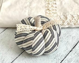 Pumpkin Pincushion Rustic Black and White Striped Pumpkin