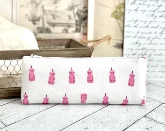 Cute Pencil Case Pink Honey Bears Pencil Pouch Students Back to School