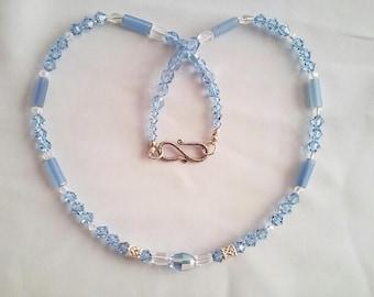 Swarovski light  blue crystal and sterling silver necklace