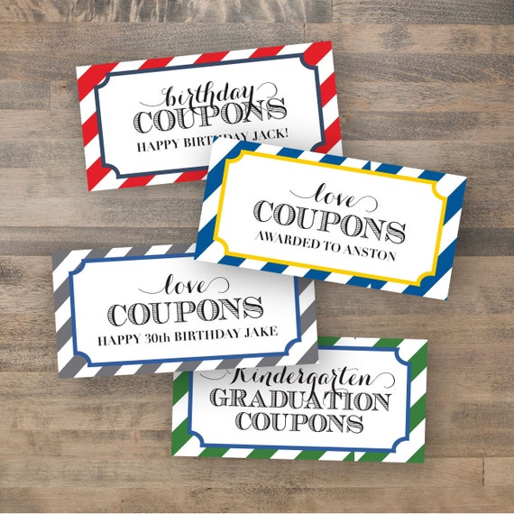 customized coupon book dy printable etsy