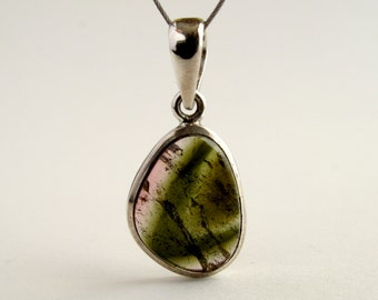 Moss Tourmaline Pendant Sterling Silver With Natural Olive Green And Pink Tourmaline Necklace Tourmaline Crystal Tourmaline Jewelry