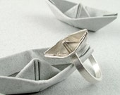 Origami Boat Ring Sterling Silver Boat Ring Origami Jewelry Origami Ship