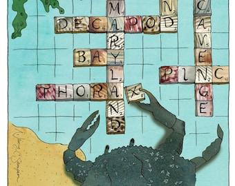 Crab Art Print - Crabble - Crab Game - Words - Collage Art - Lettering - Sea Creature - Word Nerd