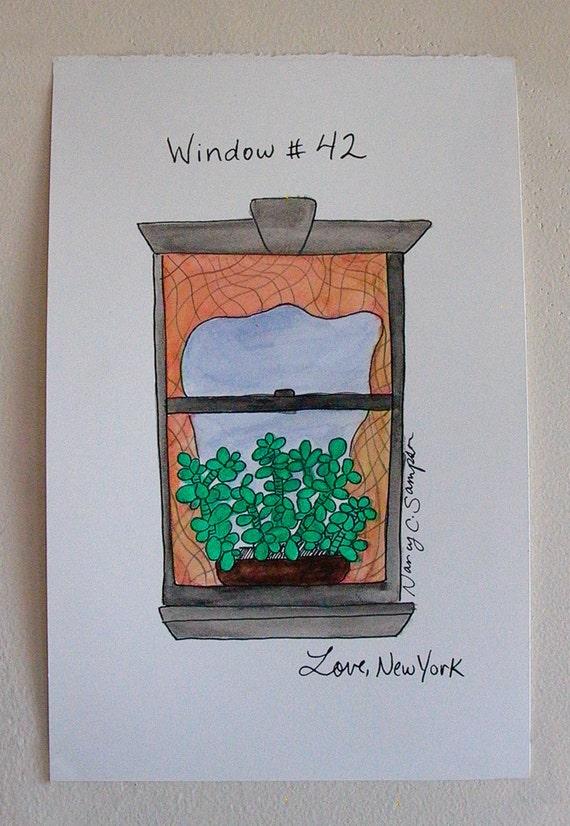 Dessin De La Fenêtre Avec Plante Original Art Encre Et Aquarelle Fenêtre New York 42 Love New York