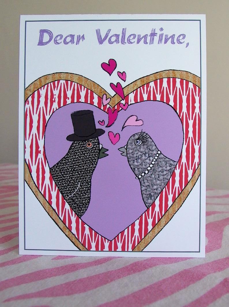 Valentine Card with Pigeons  Straight version  Love Birds image 0