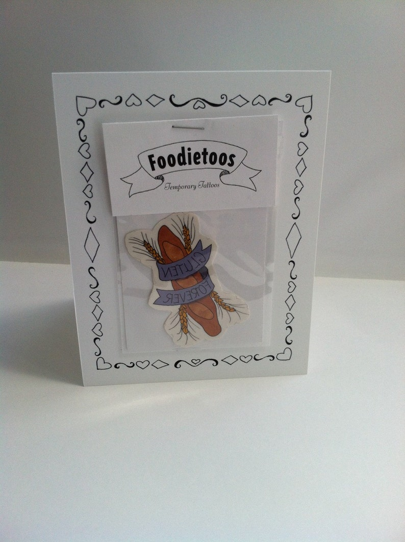 I Love You Card with Gluten Forever temporary tattoo attached: image 0