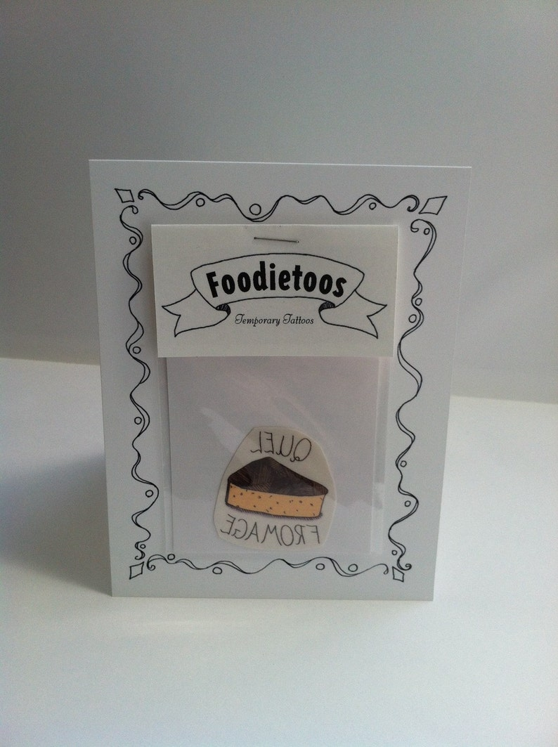 Birthday Card with Quel Fromage Temporary Tattoo attached: image 0