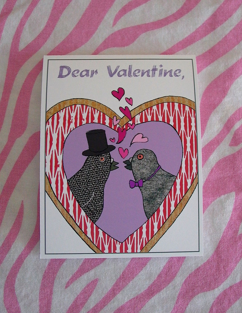 Valentine with Pigeons  Gay version  Hearts  Love Birds image 0