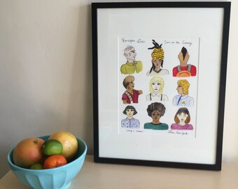 Framed Original Drawing and Watercolor on Paper - People on the New York City Subway - Illustration - Urban Art - Love, New York