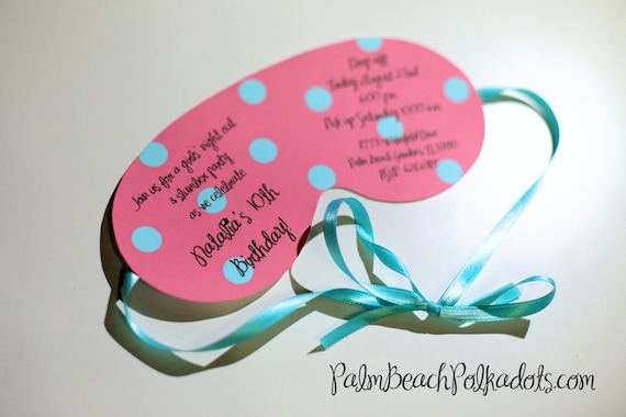 10 Spa Party Sleepover Birthday Party Invitations Eye Mask A Etsy