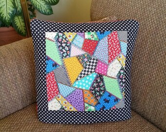 Mary's Crazy Quilt QUILLOW - patchwork quilt look in bold bright mary engelbreit colors motifs - personal quilt that folds into pillow