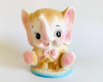 Vintage Ceramic Elephant Planter, Brinns Co.   Nursery Animal Kitsch Pink   Container, Garden, Home Decor, Trinket Holders, Dish