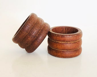 Danish Modern Wooden Napkin Rings   Vintage Set of 2 Napkin Holders   Dinnerware Decor   Scandinavian Kitchen