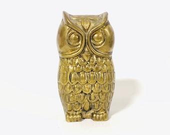 Vintage Solid Brass Owl Paperweight   Boho Brass, Desk Figurine, Home Decor, Bird, Gold, Metal Sculpture