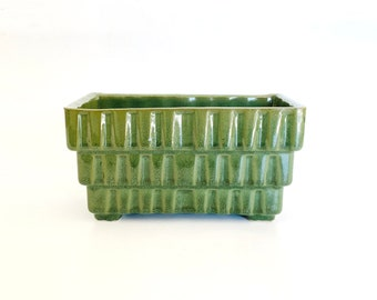 Vintage Ceramic Green Geometric Tiered UPCO USA Planter   Container, Garden, Home Decor, Trinket Holders, Dish