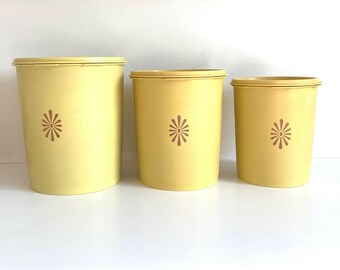 Vintage Yellow Tupperware Canisters 809-6, 807-4, 805-6   Food Storage, Retro Kitchen