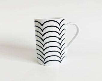 Vintage Mod Minimalist Black and White Konitz Mug, Made in Germany   Tea Cups, Coffee Mug, Drinkware