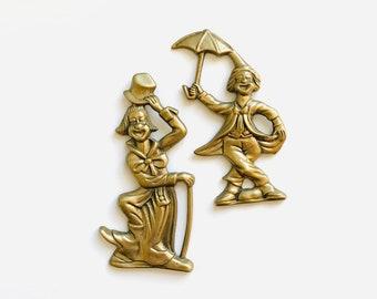 Vintage Solid Brass Clown Hanging Wall Decor   Figurine, Home Decor, Gold, Metal Sculpt