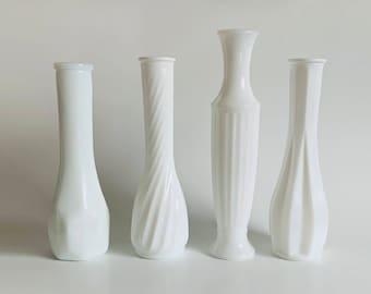 Vintage 1970s Milk Glass Vases   Embossed, Glassware, White, Container, Serving ware, Kitchen, Flowers Vase