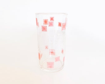 Vintage Pink Starburst and White Designed Juice Size Drinking Glass    Glassware, Cup, Container, Kitchen, Drink