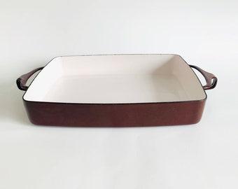 Vintage DANSK IHQ Kobenstyle Brown Enamel Casserole Dish by Jens Quistgaard   1950s Retro, Mid Century Modern